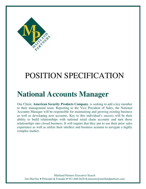 AMSEC National Accounts Manager, National