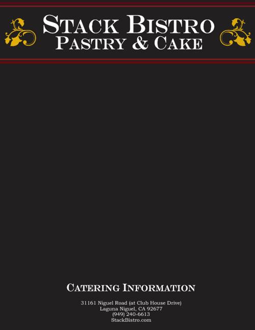 Stack Bistro Pastry & Cake Catering Menu