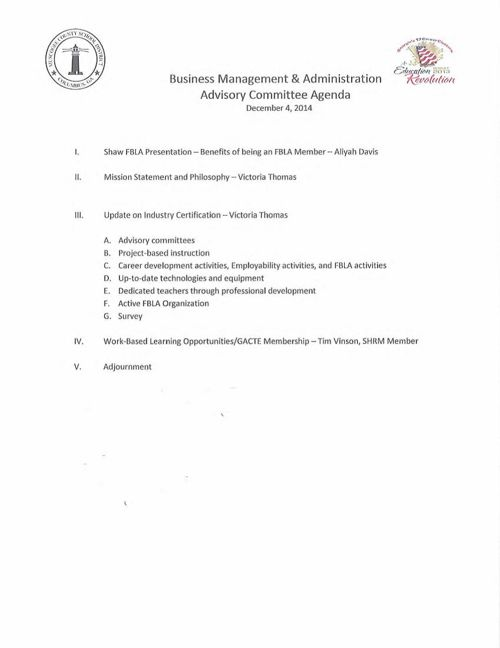 Bus Ed Adv agenda Dec. 2014