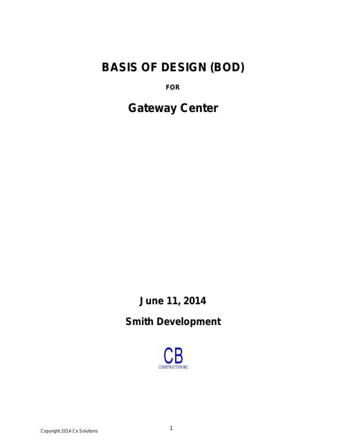 Basis of Design (BOD)