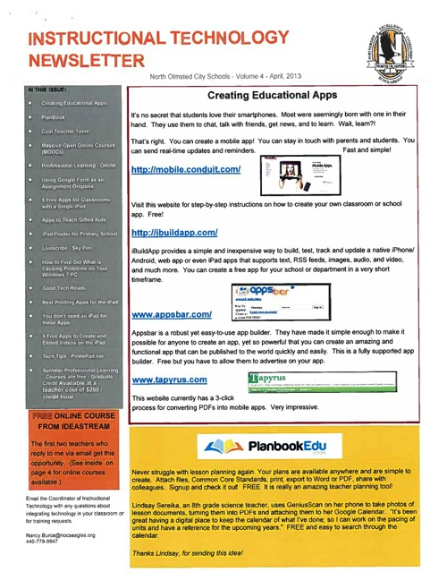 April, 2013 Instructional Technology Newsletter