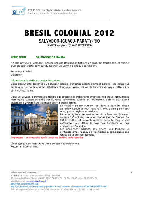 Copy of Programme circuit groupe Brésil Colonial 2012