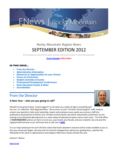 September Rocky Mountain Newsletter