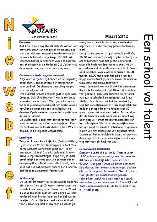 nieuwsbrief maart 2012