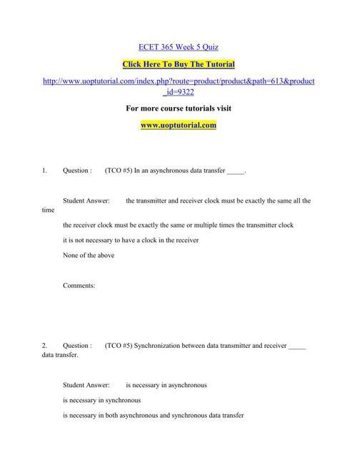 ECET 365 Week 5 Quiz