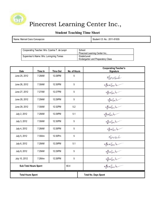 Student Teaching Time Sheet