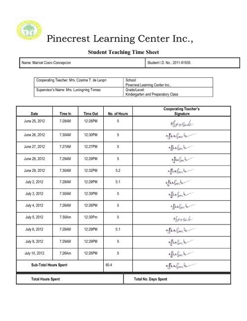 Student Teaching Time Sheet
