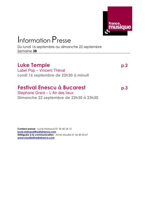 Programmes de France Musique du 16 au 22 septembre