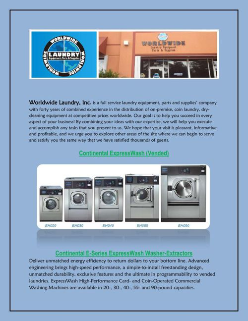 Coin Laundry Equipment