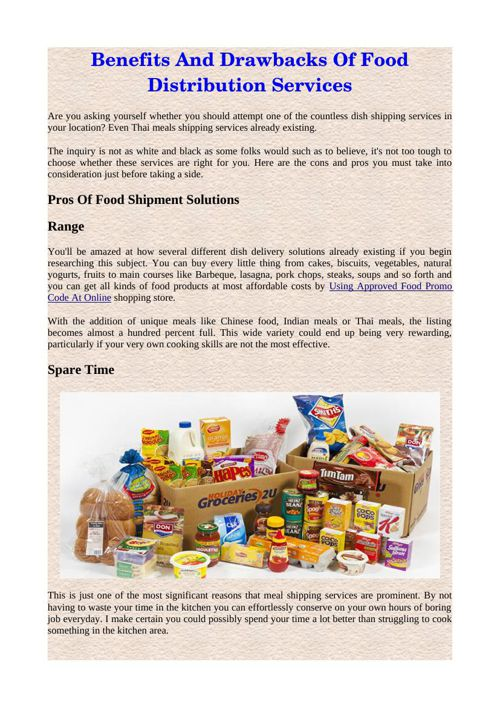 Benefits And Drawbacks Of Food Distribution Services