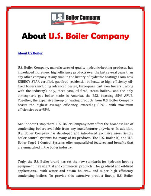About U.S. Boiler Company