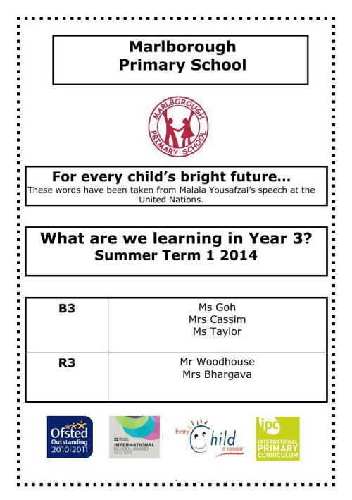 Y3 curriculum letter Summer 1
