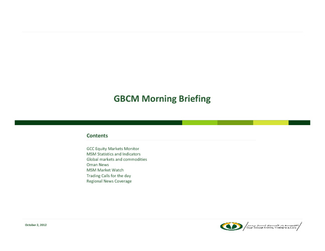 GBCM Research: Morning Briefing for 2nd Oct 2012