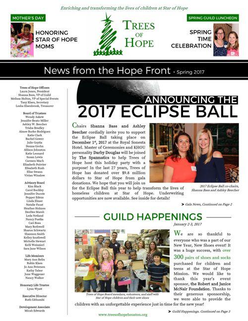 Trees of Hope Spring 2017 Newsletter
