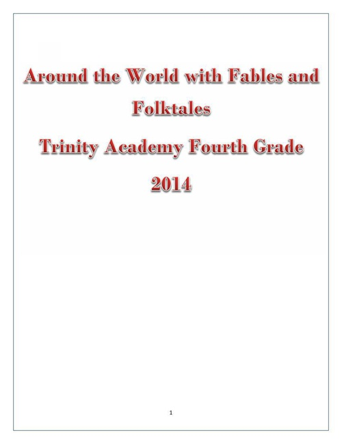 Around the World with Fables and Folktales Fourth Grade