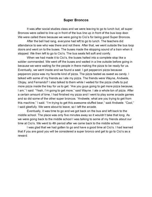 Middle School Diaries: Malik Williams Writing Portfolio