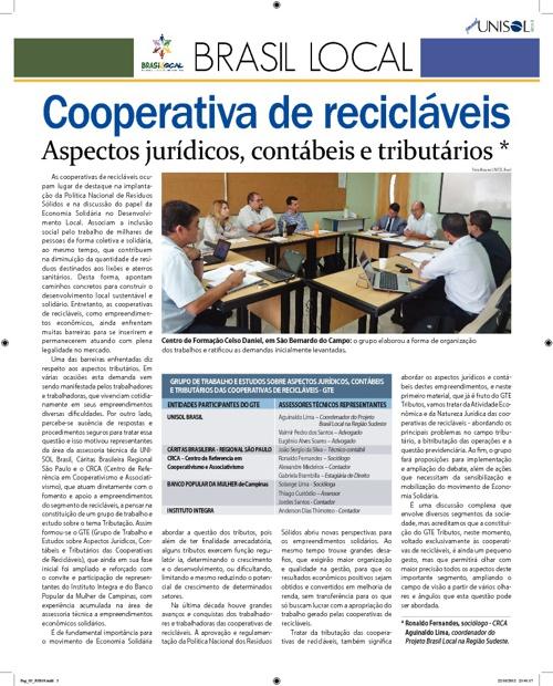 JORNAL SEMINÁRIO COOPERATIVA RECICLAVEIS