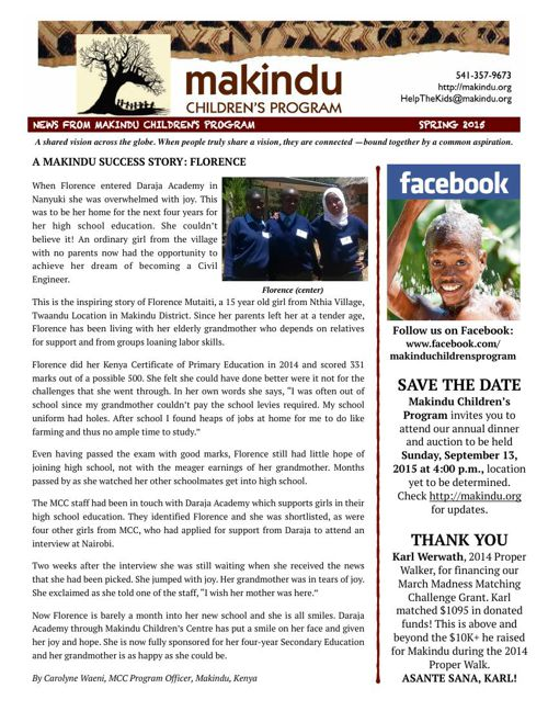 Makindu Spring 2015 Newsletter