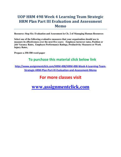 UOP HRM 498 Week 4 Learning Team Strategic HRM Plan Part III Eva