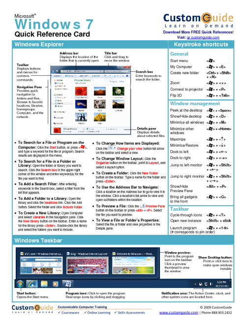 Windows Quick Reference Sheets