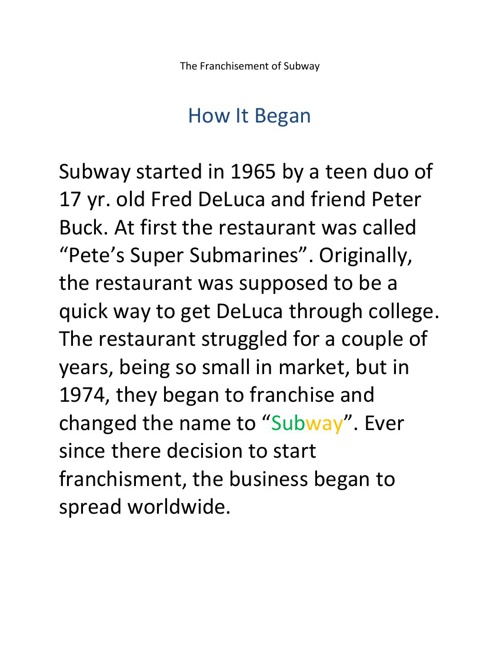 Franchising: At Subway