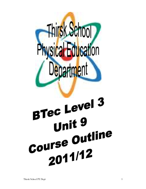 BTEC Unit 9 Course Outline and Assignment Brief