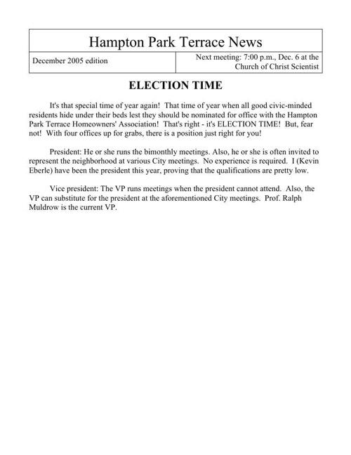 HPT Newsletter December 2005