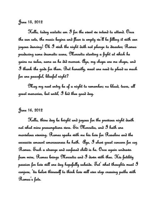 Benvolio's Diary