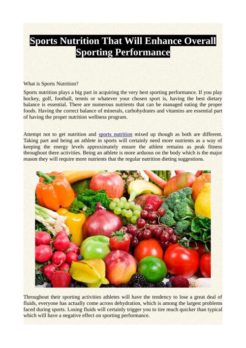 Sports Nutrition That Will Enhance Overall Sporting Performance