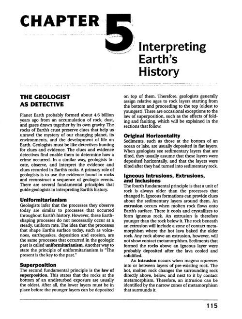 CH 5: Earth's History