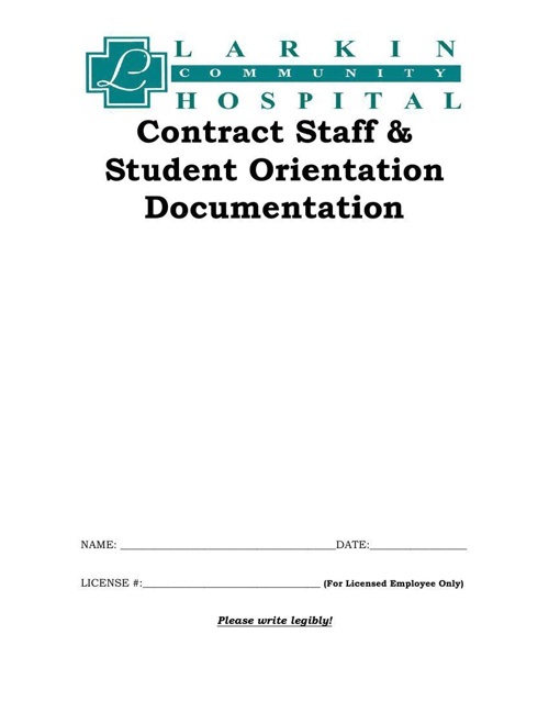 Contract Staff & Student Orientation Documentation