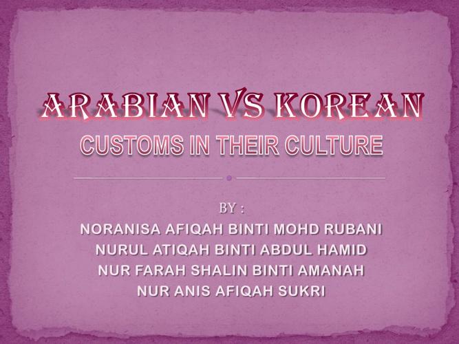 Arabian VS Korean