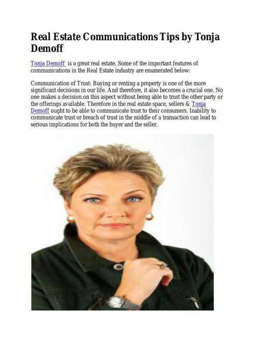 Real Estate Communications Tips by Tonja Demoff