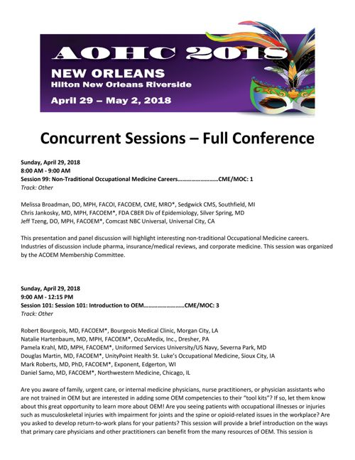 2018 AOHC Concurrent Sessions  - Full Conference