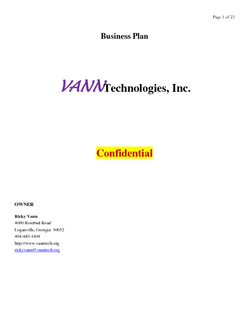 Vanntech Business Plan