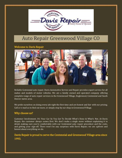 Auto Repair Greenwood Village CO