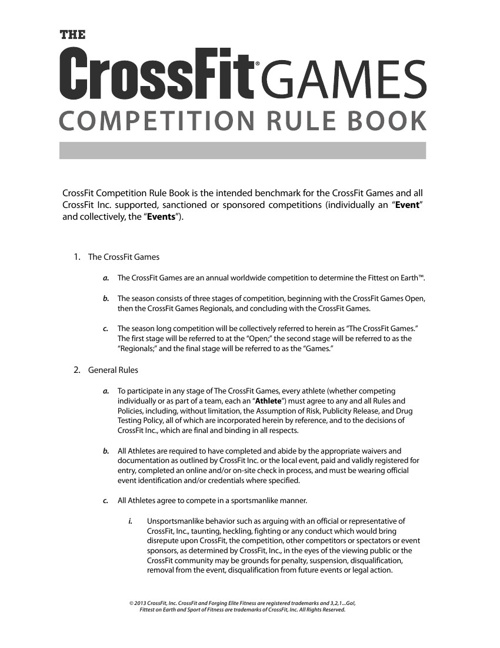 CrossFit Games 2013 Rule Book