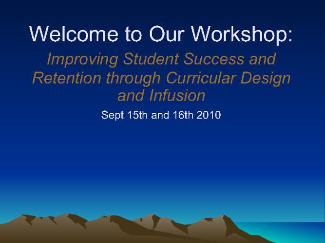 Student Success Workshop September 2010