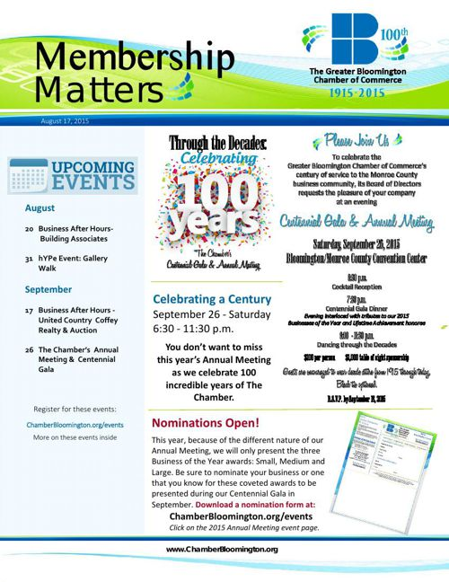 All the News from the Greater Bloomington Chamber of Commerce