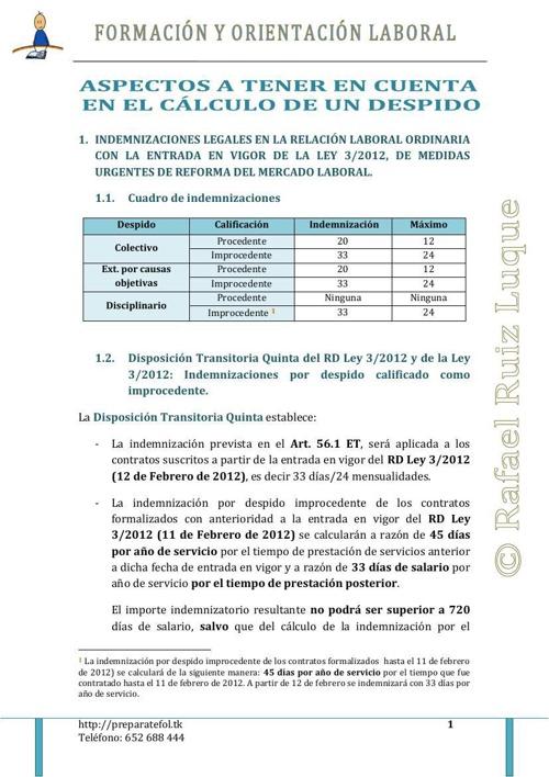 Cálculo de Indemnizaciones (RD Ley 3/2012)