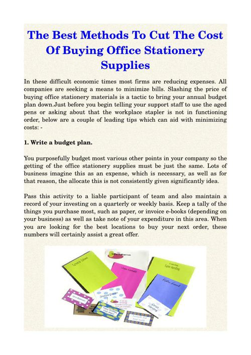 The Best Methods To Cut The Cost Of Buying Office Stationery Sup