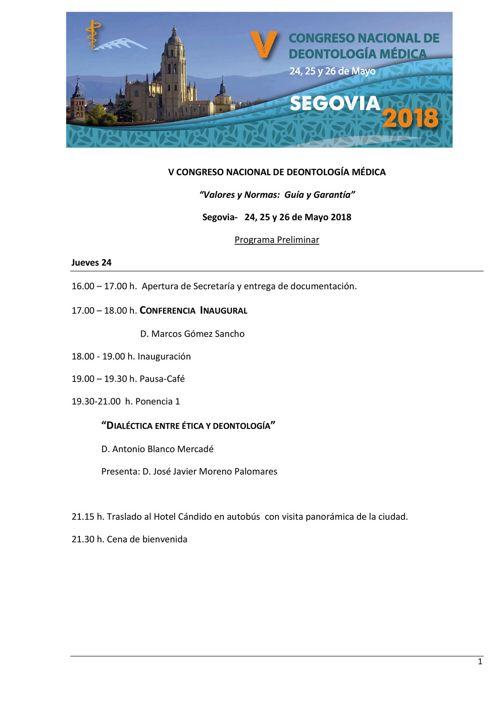 PROGRAMA V CONGRESO NACIONAL DE DEONTOLOGIA MEDICA SEGOVIA MAYO