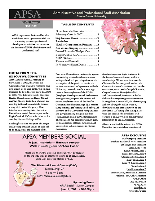 2008 May Newsletter