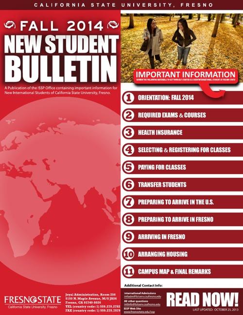 NEW STUDENT BULLETIN (FALL 2014)
