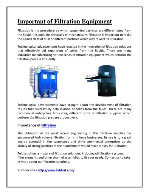 Important of Filtration Equipment