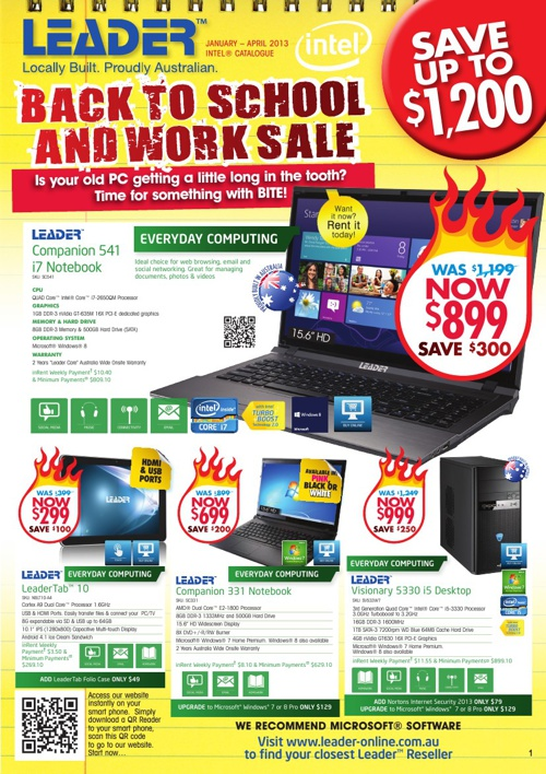 "Leader Computers ""Back to School & Work Sale"" January-April 2013"