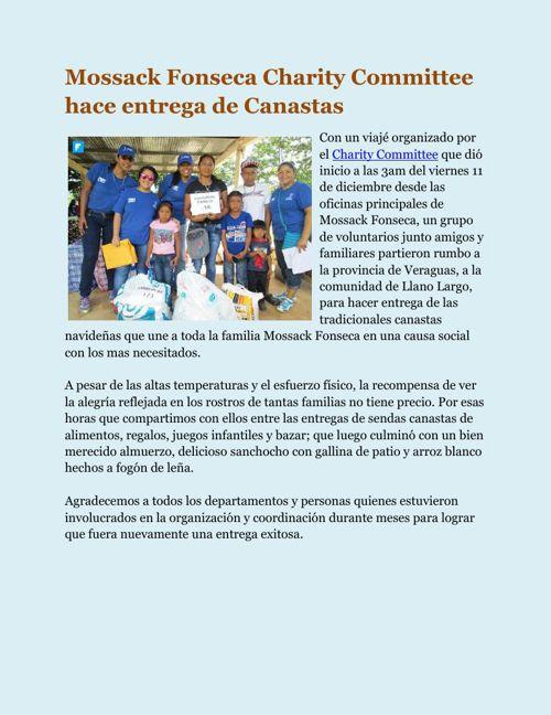 Mossack Fonseca Charity Committee hace entrega de Canastas