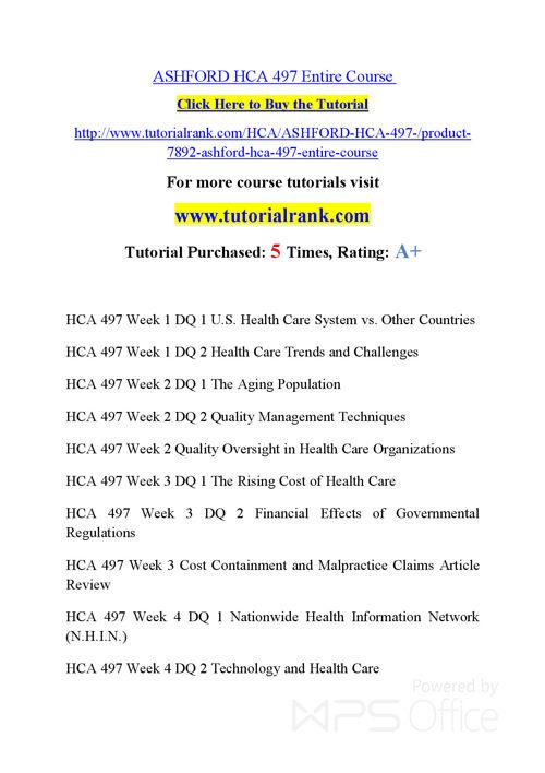 HCA 497 Course Success Begins / tutorialrank.com