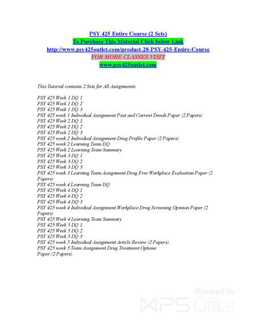 PSY 425 OUTLET  Entire Course (2 Sets) /psy425outlet.com