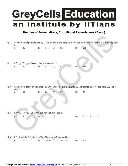 1. Permutations and Combinations - basics
